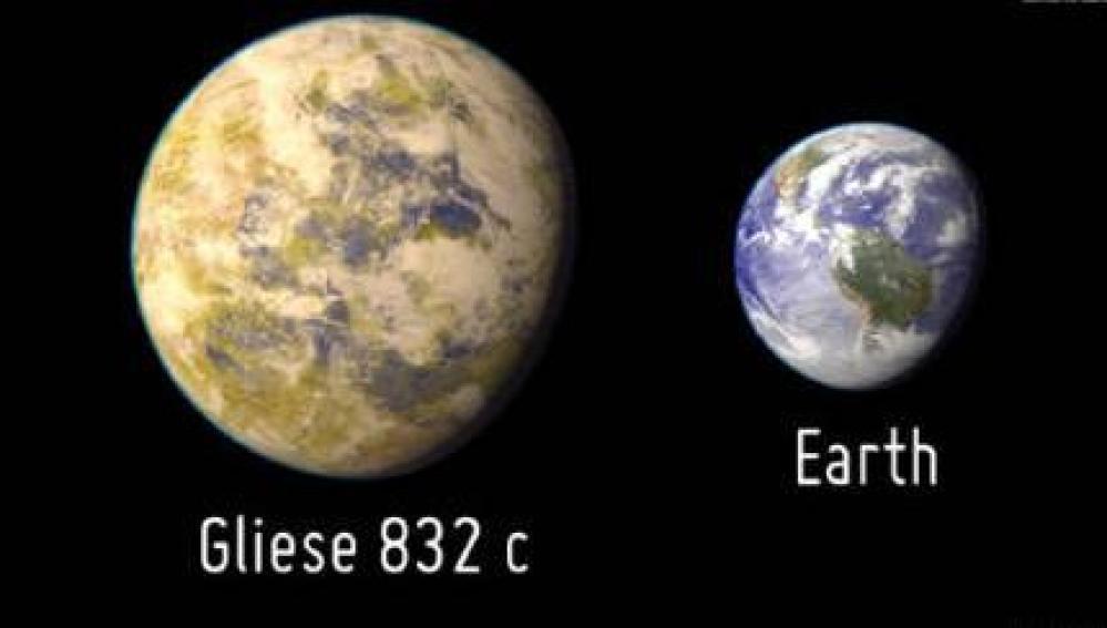 El planeta GJ 832 c, comparado con la Tierra