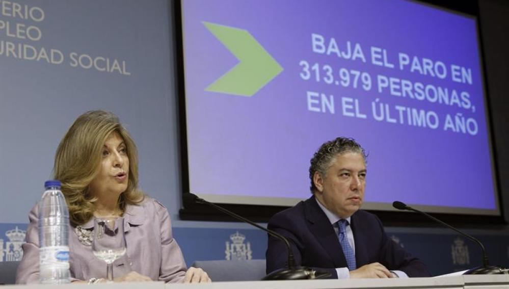 Los secretarios de Estado de Empleo y de Seguridad Social, Engracia Hidalgo (i) y Tomás Burgos (d)
