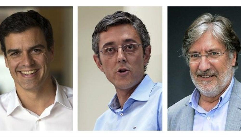 Pedro Sánchez, Eduardo Madina y José Antonio Pérez Tapias