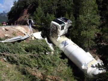 Así quedó el camión tras su accidente
