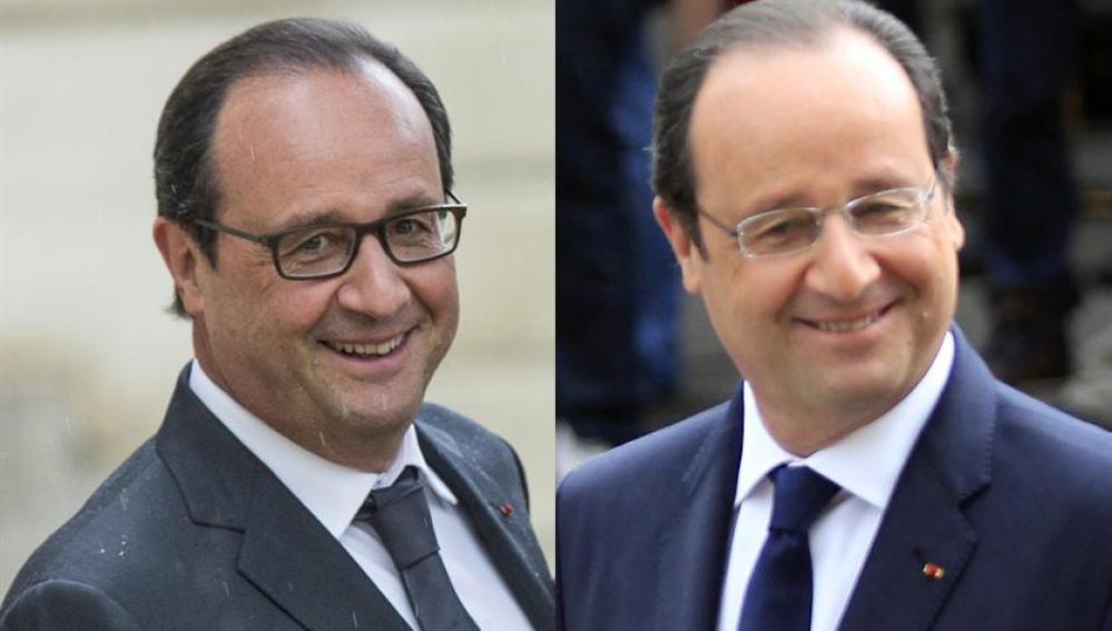 François Hollande, con sus nuevas gafas y con las que llevaba hasta ahora