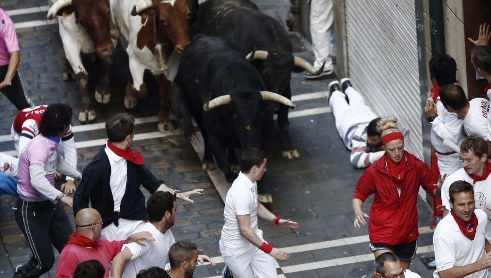 Varios mozos corren ante los toros de la ganadería extremeña de Jandilla