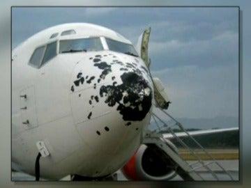 Avión destrozado por el granizo