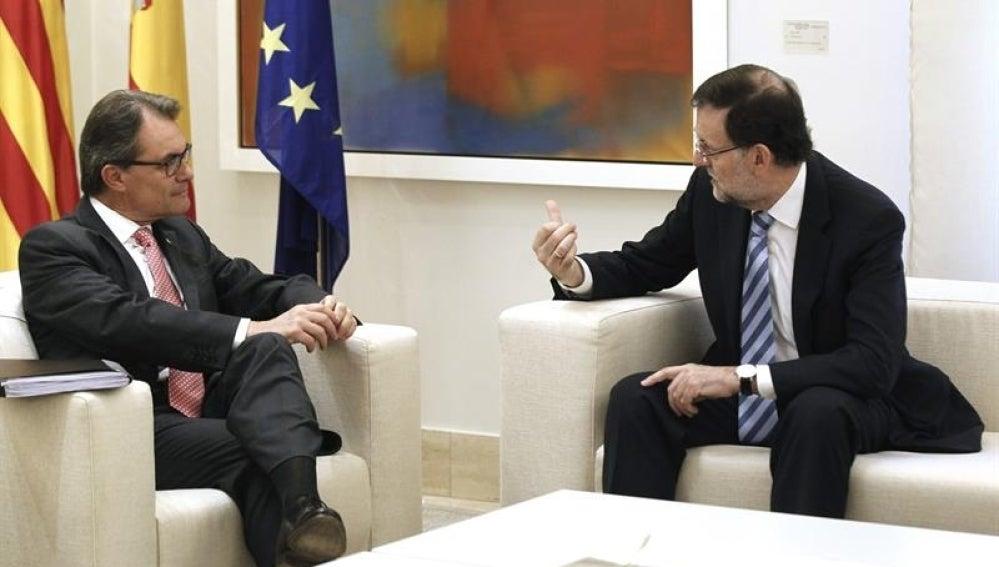Artur Mas y Mariano Rajoy, durante un momento de la reunión