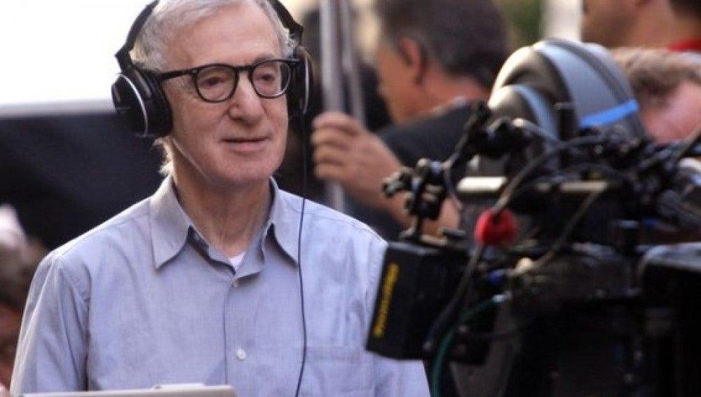 Woody Allen en el set de rodaje