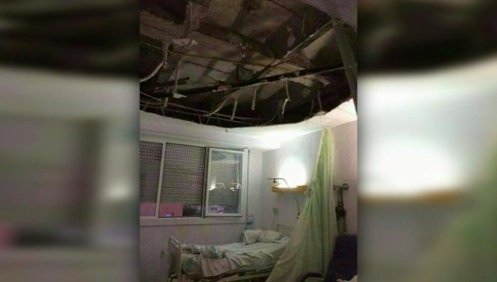 Techo desplomado en un hospital de Puertollano