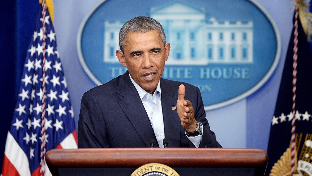 Obama, durante una conferencia de prensa