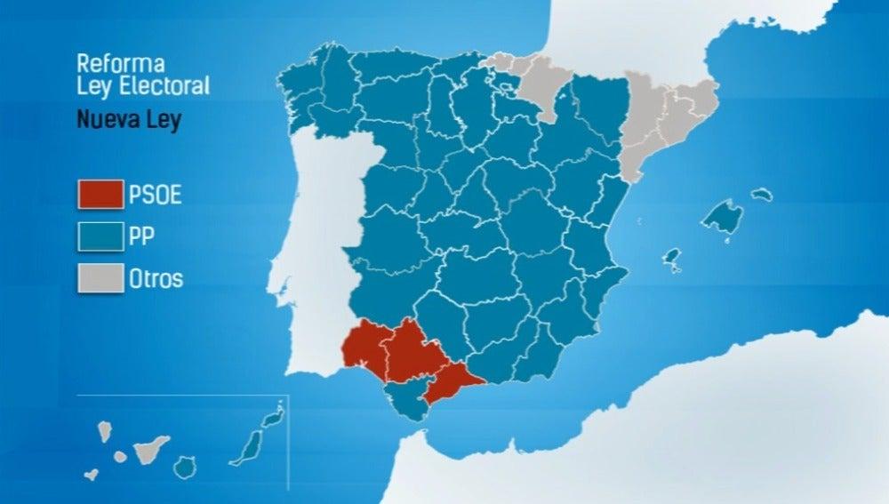 Así quedaría España tras la reforma electoral