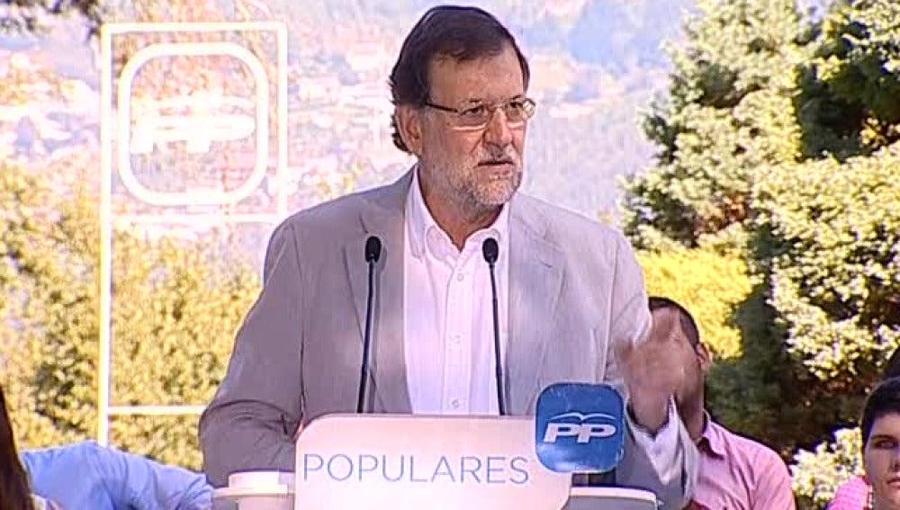 Mariano Rajoy en su comparecencia en Soutomaior.