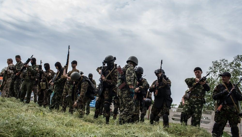 Miembros de un batallón prorruso
