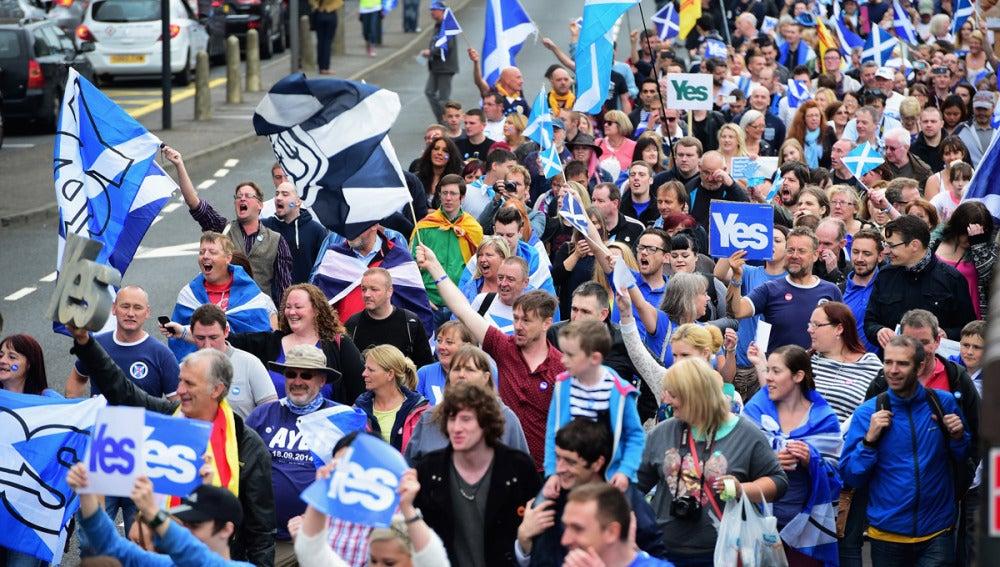 Marcha a favor del sí a la independencia de Escocia