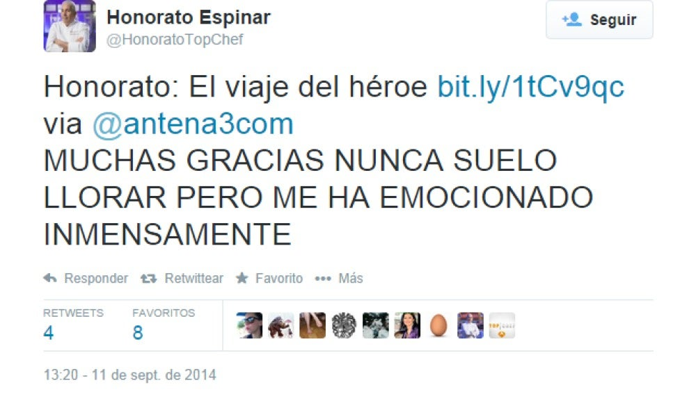 Honorato se emociona con un post de los Hermanos Top Chef