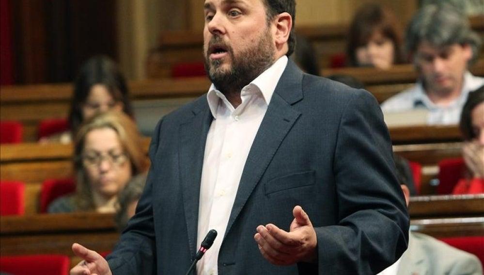 Oriol Junqueras en su comparecencia en el Parlament.