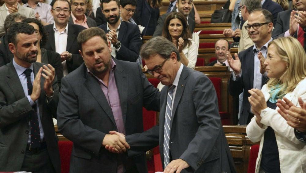Artur Mas y Oriol Junqueras en el Parlament Catalán