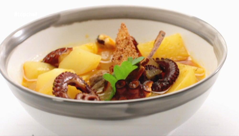 Guiso de patatas, pulpo y berberechos con ternera gallega