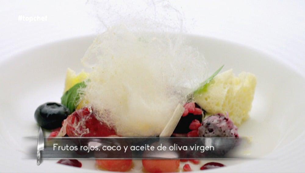 Frutos rojos, coco y arbequina