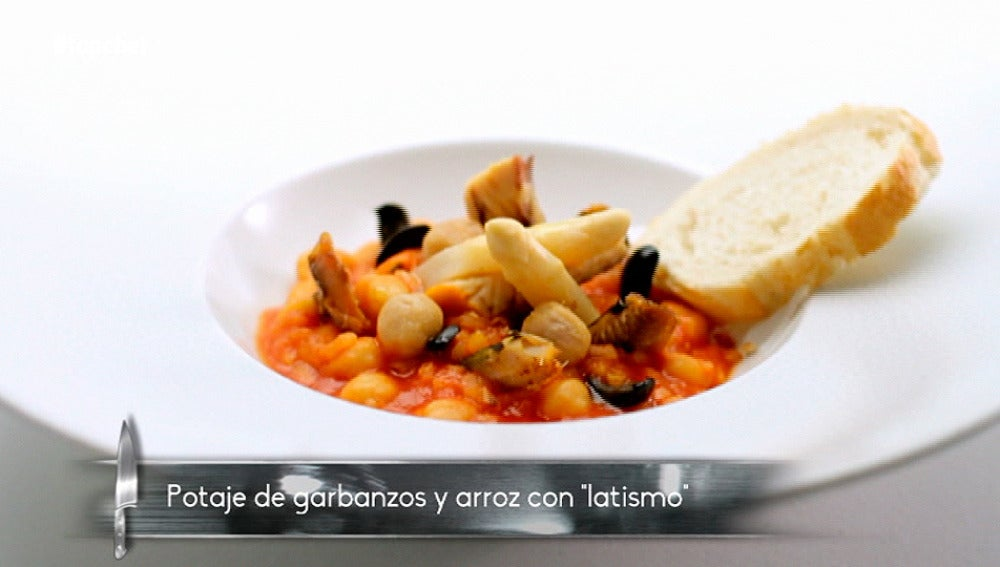 Potaje de garbanzos y arroz con latismo