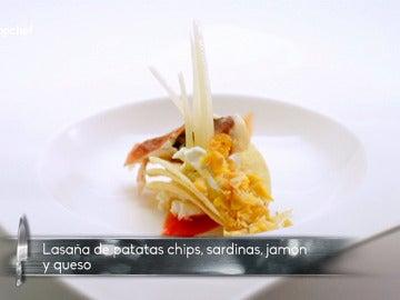 Lasaña de sardinas, jamón y queso