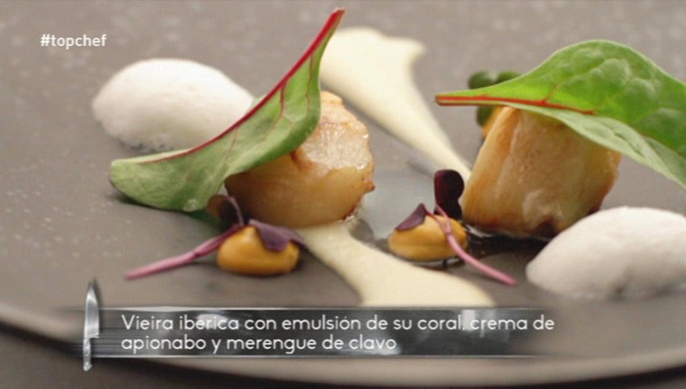 Vieira ibérica, crema de apionabo y emulsión de su coral