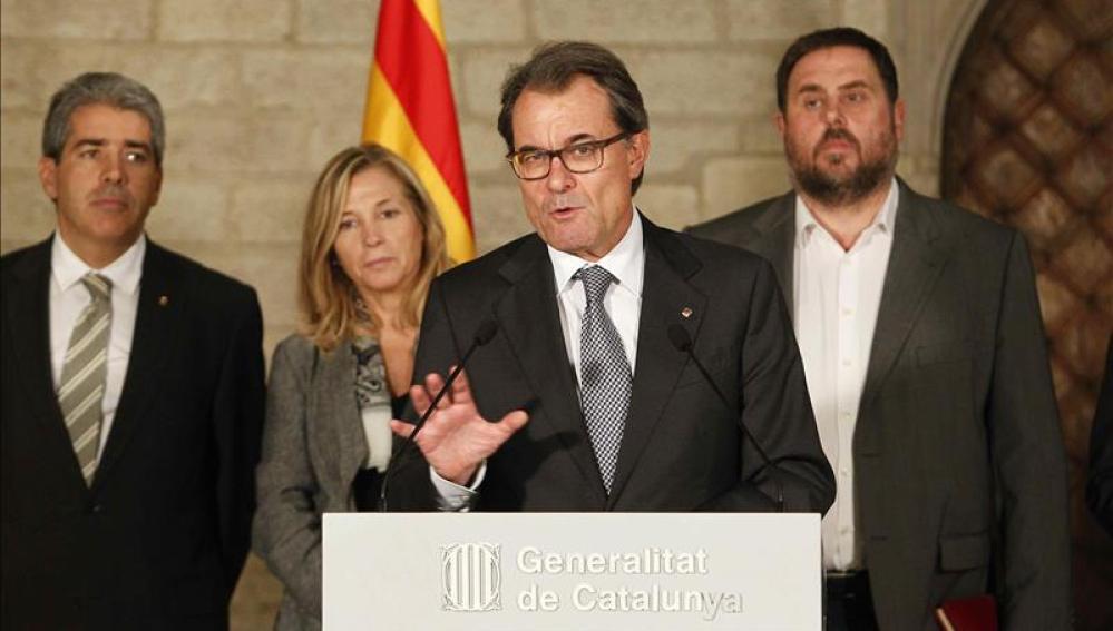 Artur Mas, con Junqueras y Homs