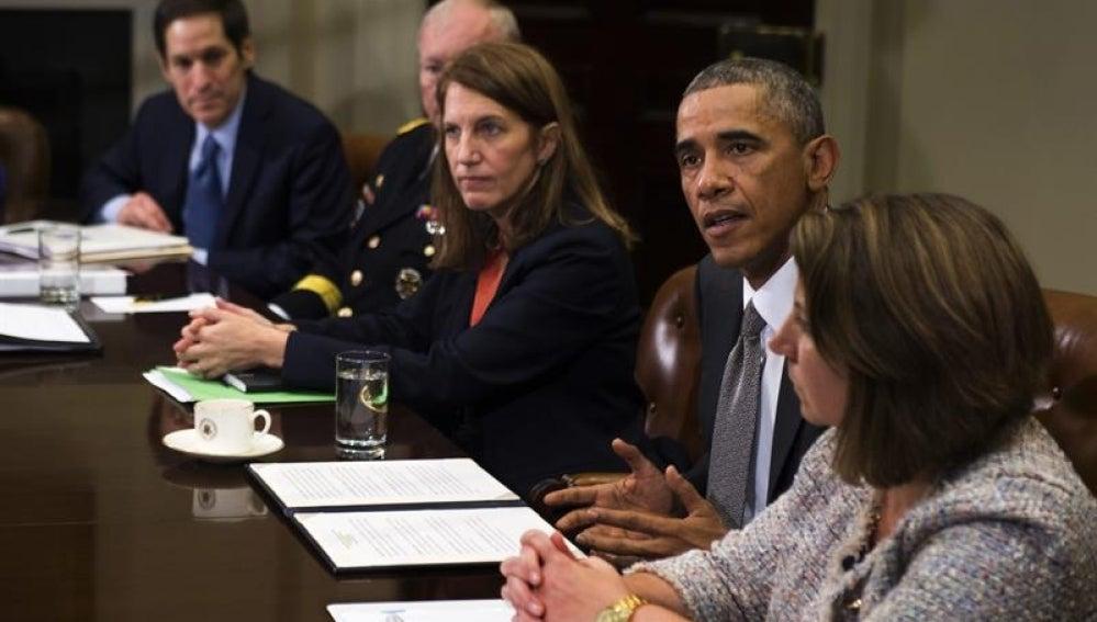 Obama en rueda de prensa en Washington para hablar del caso de ébola.