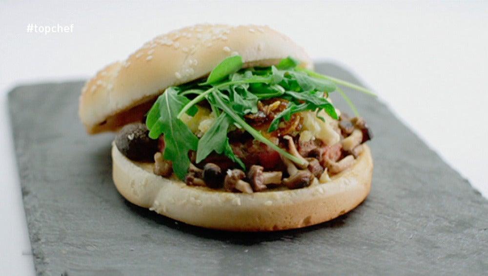 Hamburguesa oriental con queso de cabra