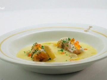 Cremoso de maíz y foie de mar
