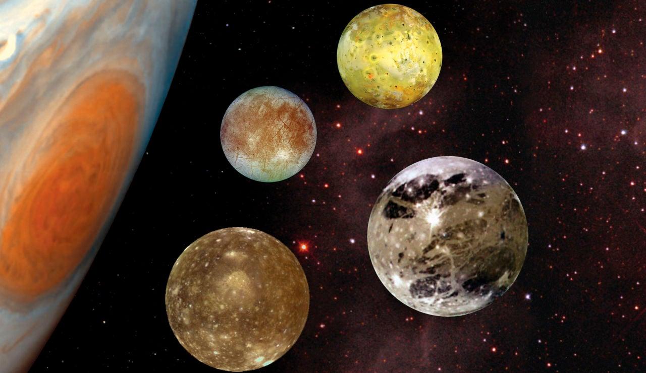 Las cuatro lunas más grandes de Júpiter (Io, Europa, Ganymede y Callisto) son conocidas como los satélites de Galileo