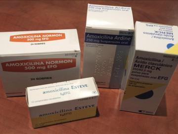 Varios envases de antibióticos genéricos.