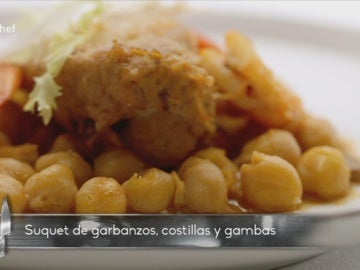Suquet de garbanzos, costillas y gambas