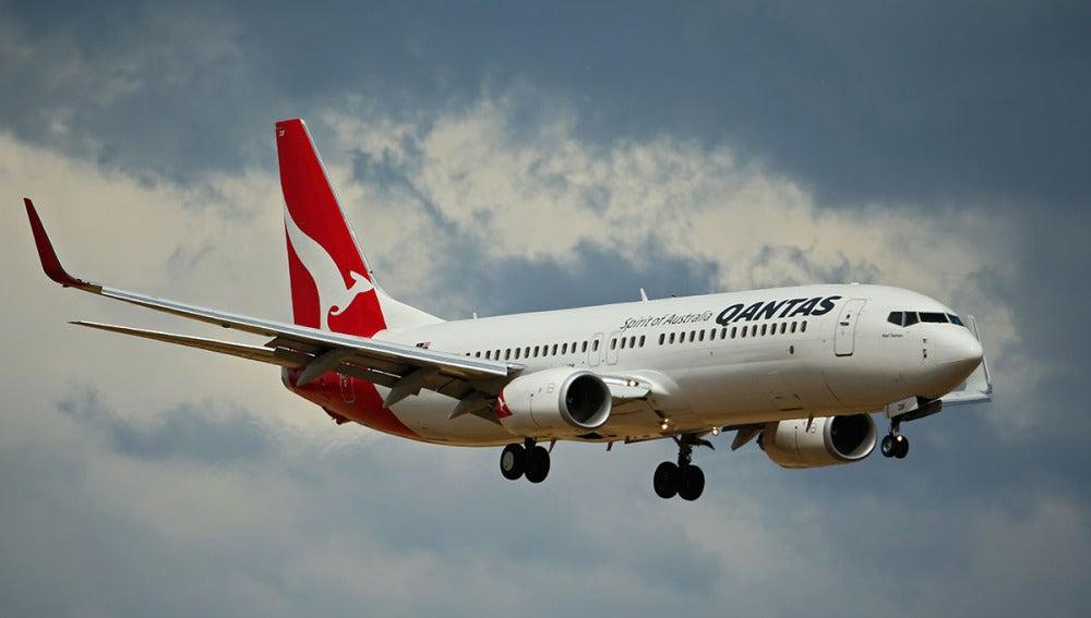 Un avión de Qantas, en pleno vuelo