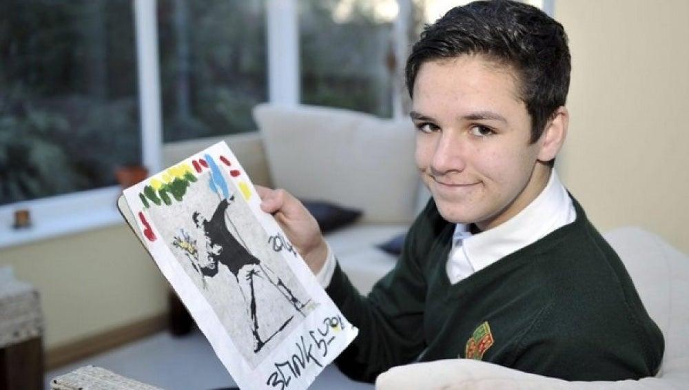 Dibujo que Banksy regaló a un joven