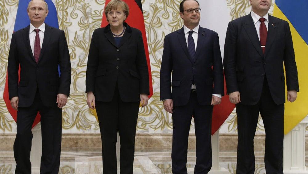 Putin, Merkel, Hollande y Poroshenko