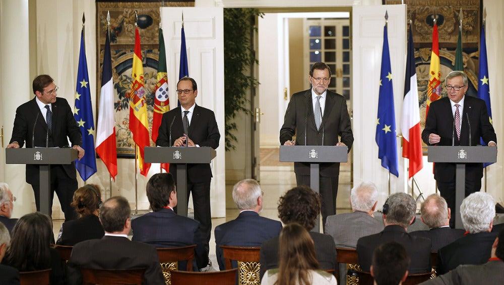 Mariano Rajoy con Hollande, Coelho y Juncker