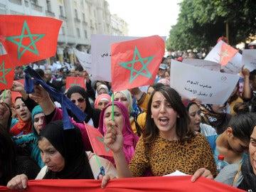 Manifestación en Marruecos por el Día de la Mujer