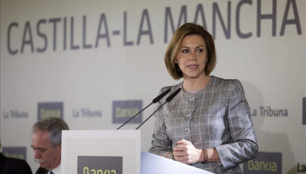 María Dolores de Cospedal, durante su intervención en un desayuno informativo