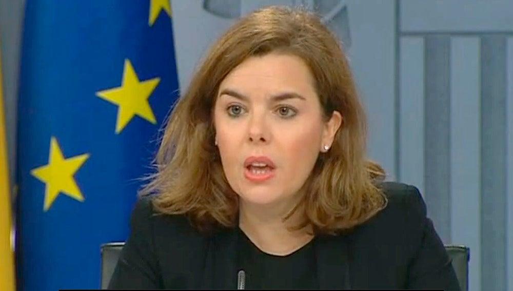 Soraya Sáenz de Santamaría en rueda de prensa