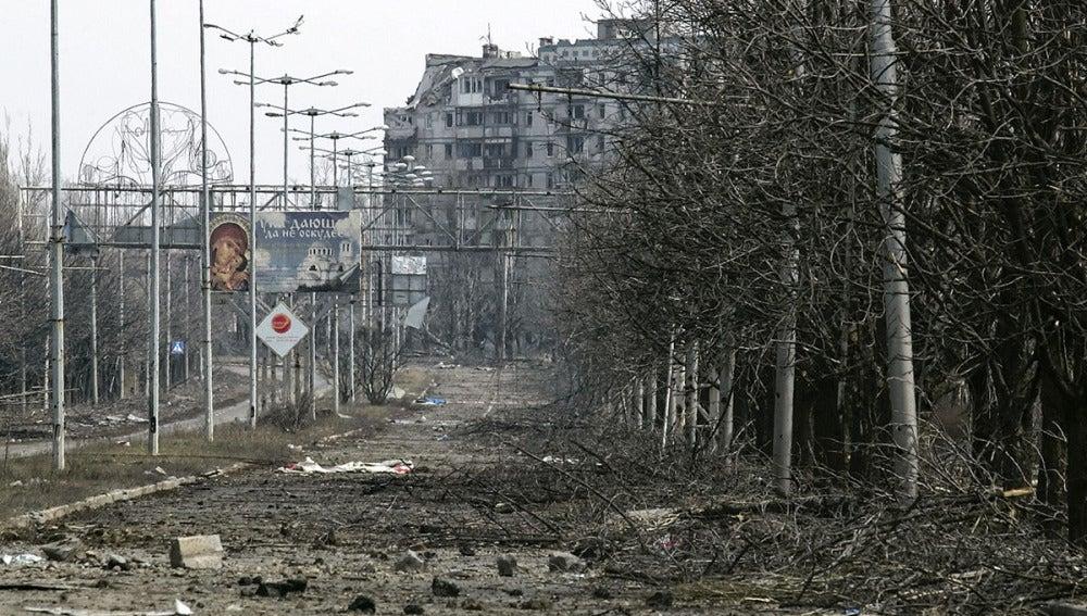 Zona destruida en Donetsk