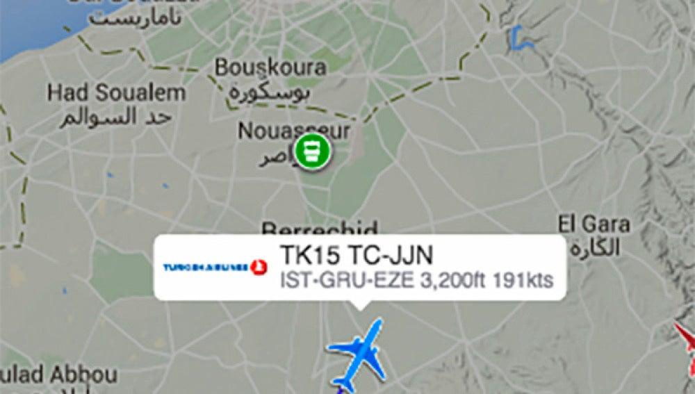 Mapa de la ruta aérea del vuelo de Turkish Airlines.