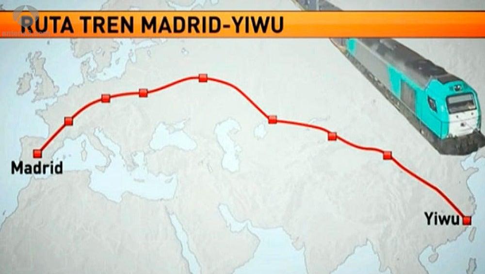 Ruta ferroviaria entre Madrid y Yiwu