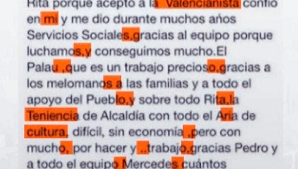 Carta de la concejala de Cultura de Valencia