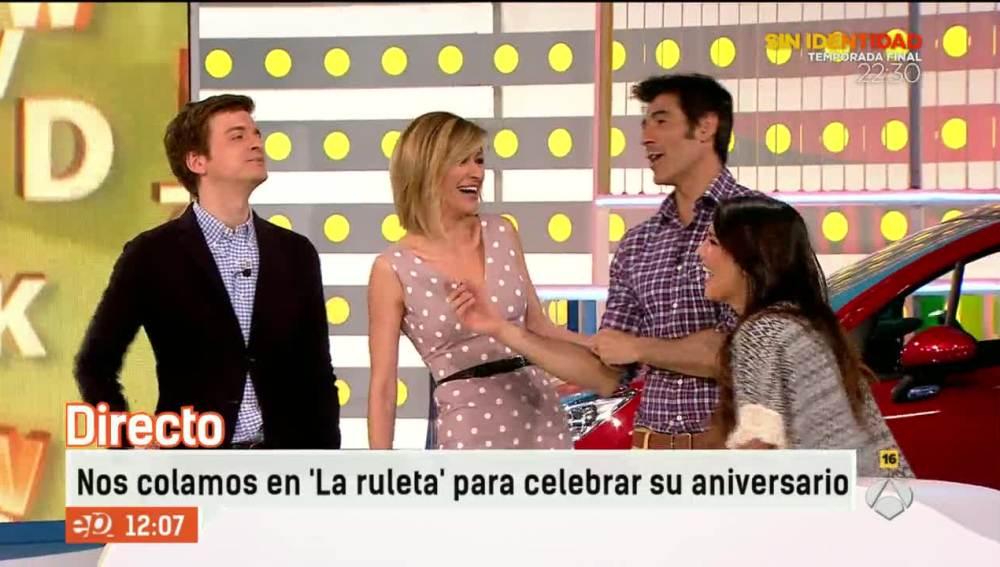 Susanna Griso, Lorena Castell y Marc Giró se cuelan en 'La ruleta' para celebrar su aniversario