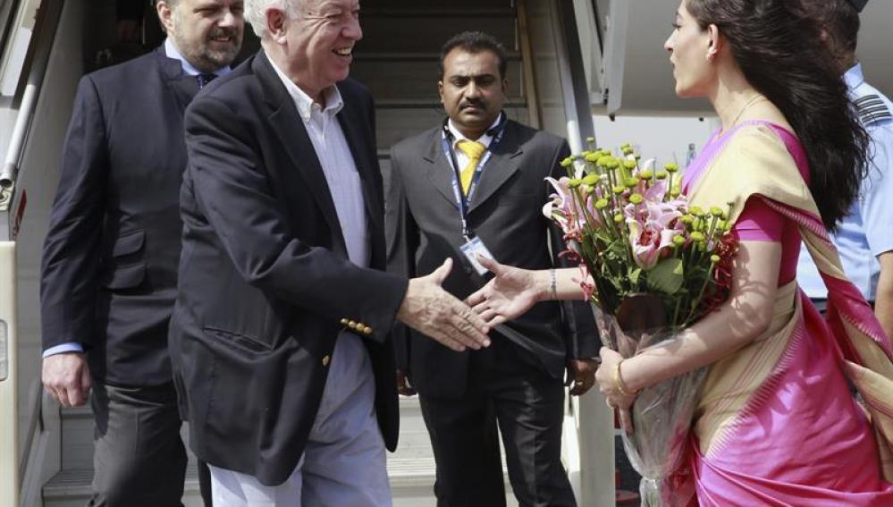 El titular de Exteriores, José Manuel García-Margallo, durante su visita a la India