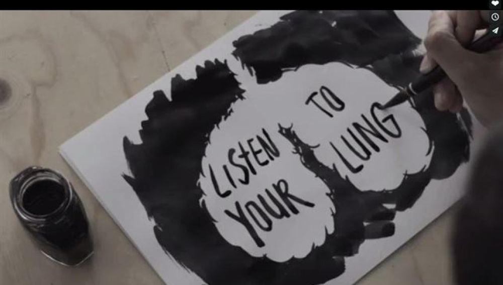Mensaje escrito con tinta de pulmones de fumadores