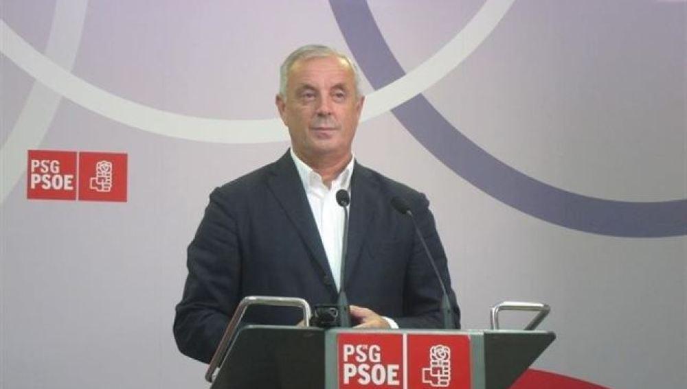Patxi Vázquez en una imagen en la sede del PSdeG.