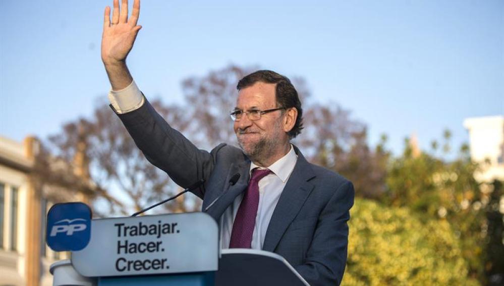 Mariano Rajoy en un mítn