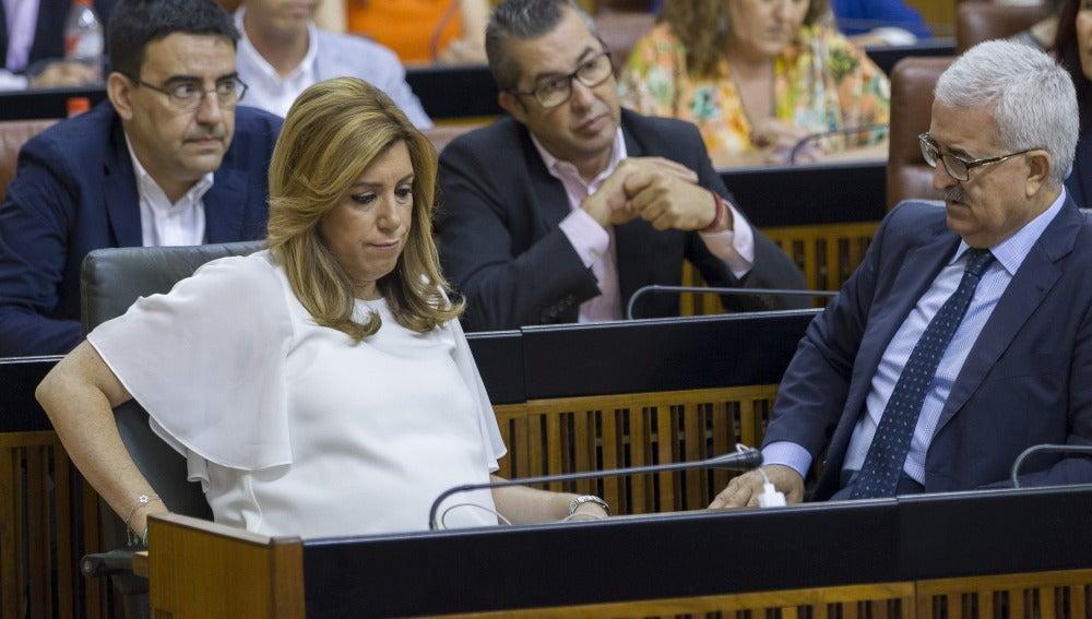 Susana Díaz durante la tercera votación a su investidura