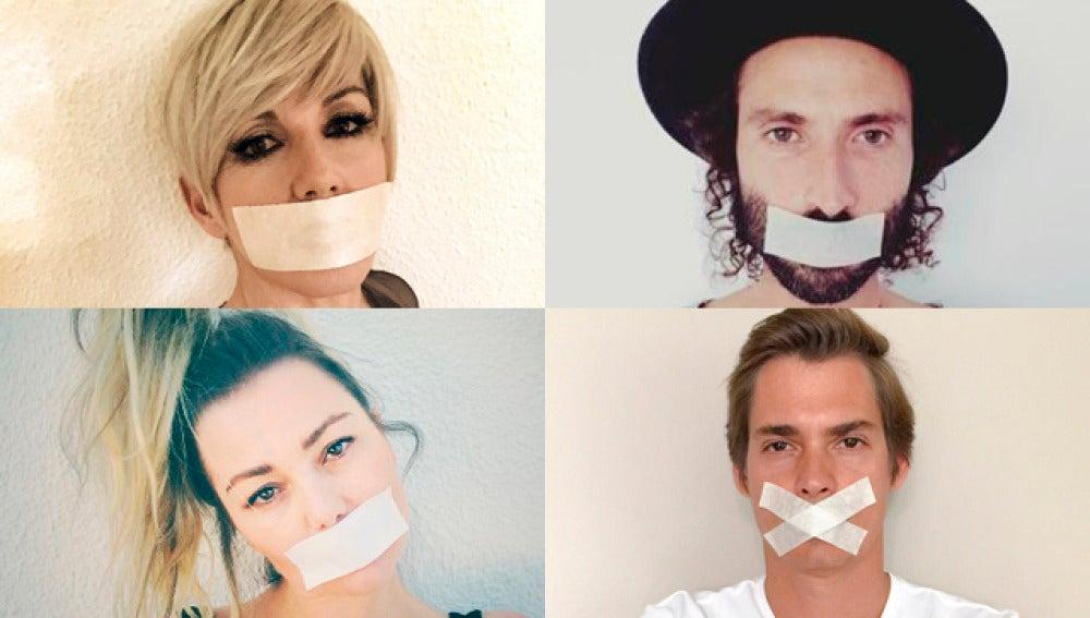 Artistas con la boca tapada en señal de protesta