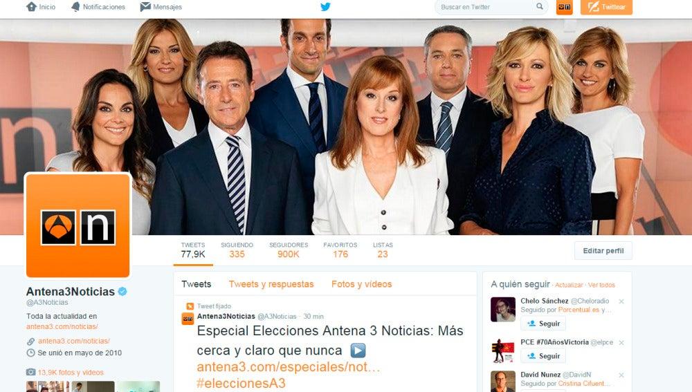 La cuenta de Twitter de A3 Noticias