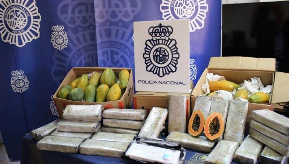 Cocaína incautada en cargamento de papayas